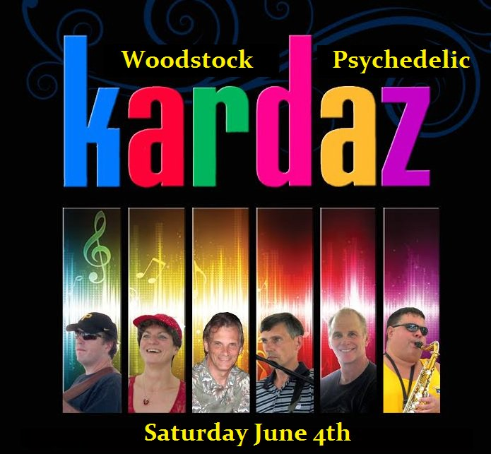 60s Party w/ Kardaz sat! Woodstock & Psychedelic music. Dress in 60s gear! tix at theoakstheater.com