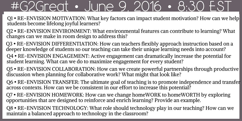 Our #G2Great questions for our chat tonight. https://t.co/3lvwJ2pdUx