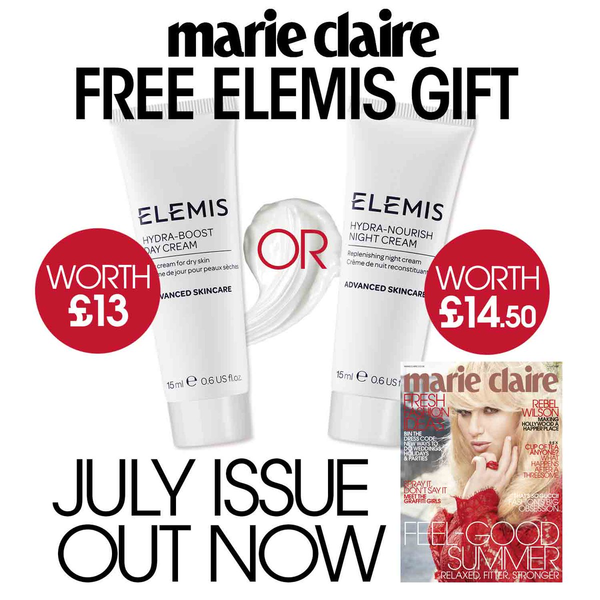 Free Elemis Products Marie Claire July 2016