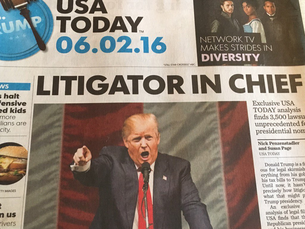 "In its headline today, USA Today misused ""litigator"" for ""litigant."" In 3,500 lawsuits, he's always been a litigant. https://t.co/8TqRiISaPm"