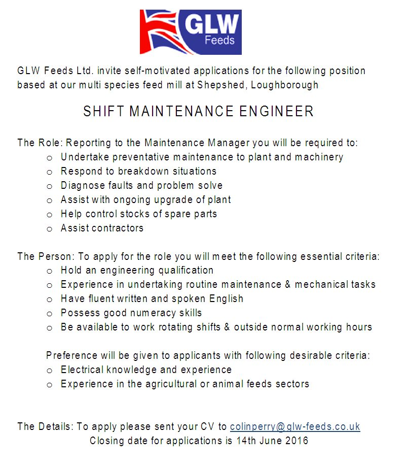 Glw Feeds Ltd On Twitter Glw Feeds Vacancy  Shift Maintenance