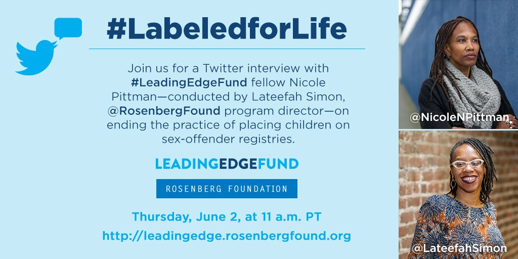 Tune in today at 11 a.m. PT for #LeadingEdgeFund #twitterview with @NicoleNpittman & @LateefahSimon #LabeledforLife https://t.co/ny2VPpc0TT