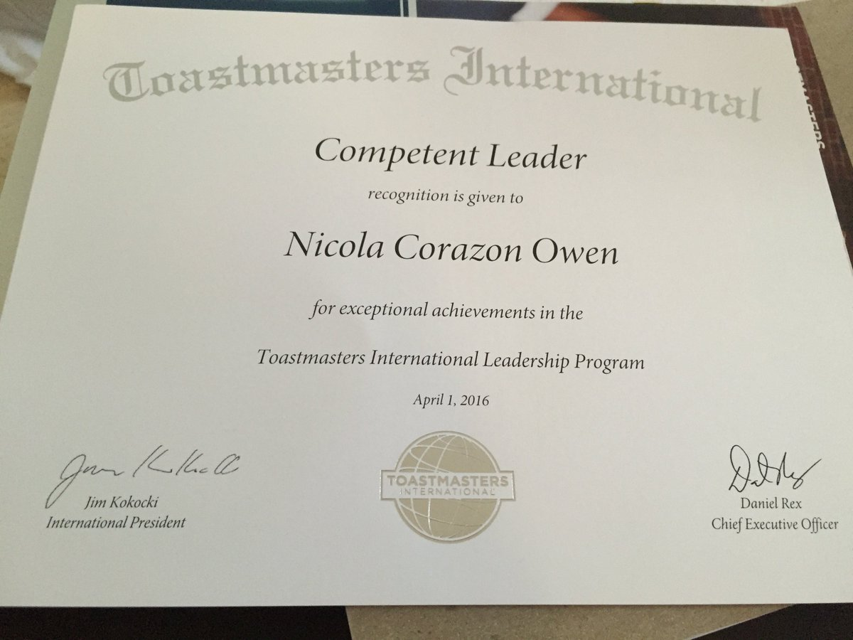 Nicola Lindgren On Twitter Just Got My Competent Leader Certificate In The Mail Woohoo Toastmasters Yep I M A Proud Toastmaster