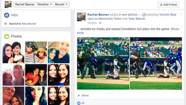 So our home plate umpire's wife just posted this on Facebook. #BlueJays https://t.co/uOaiGOXCTi