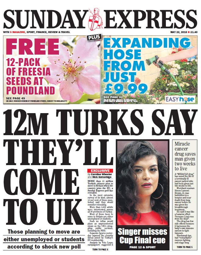 SUNDAY EXPRESS FRONT PAGE: '12m Turks say they'll come to UK' #skypapers