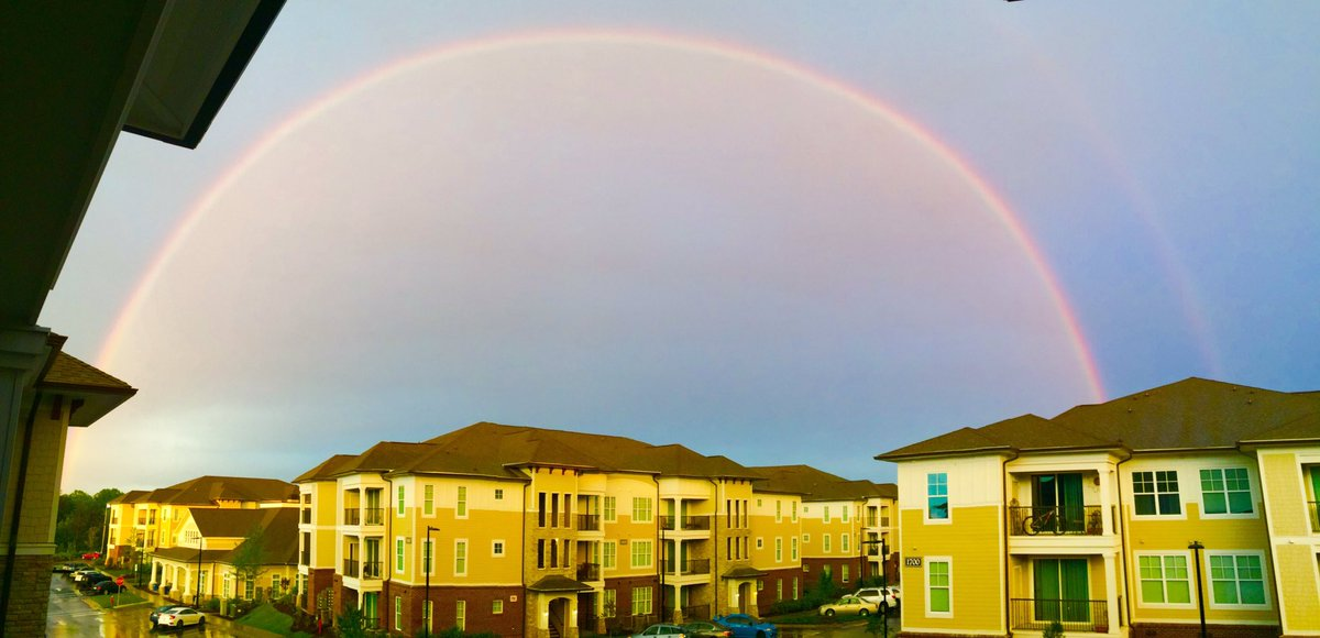 A little bit of #rain in #Raleigh #NC, but a #happy day after all. #doublerainbow