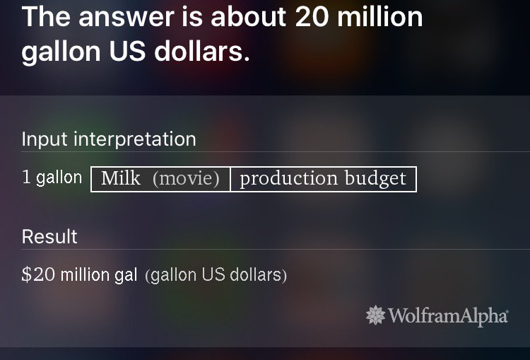 "That's exactly right, Siri. I DID want to know how much a gallon of the movie ""Milk"" costs. https://t.co/EZZdeIihbO"