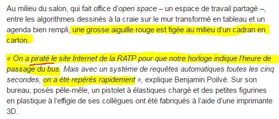 """Magnifique cet article du monde sur """"la startup des hackers"""" . Faire un curl sur le site la RATP = """"pirater"""". https://t.co/yOUSZl4gqo"""