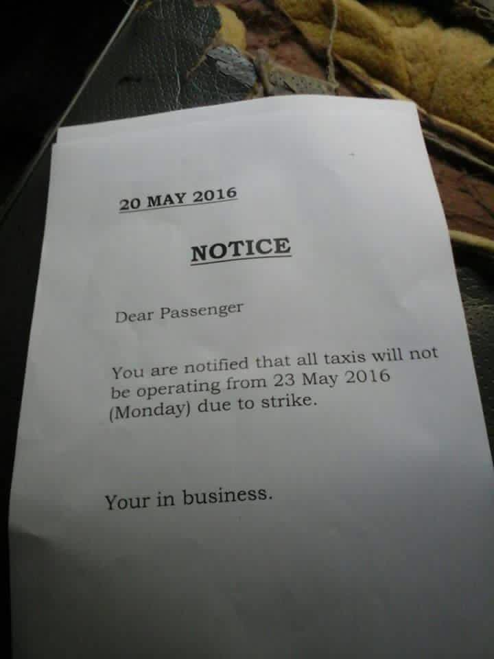 @pigspotter @mynews24   taxi strike tomorrow. Distributed to passenger's https://t.co/3s5s7ugNsk