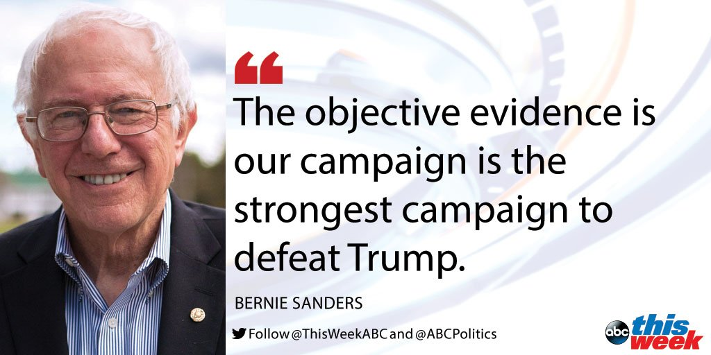 .@BernieSanders asks superdelegates to consider which candidate could best defeat Donald Trump. #ThisWeek