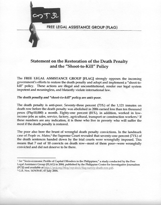 The Free Legal Assistance Group's statement on the proposed return of capital punishment and shoot to kill orders. https://t.co/OGyh3edAfk