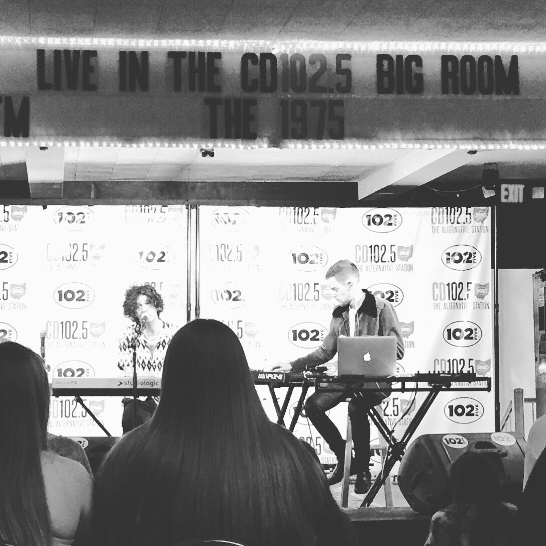 Thanks to Matty and Adam from @the1975 for performing in the @cd1025fm big room today.  #the1975 https://t.co/at9UhQsaoU