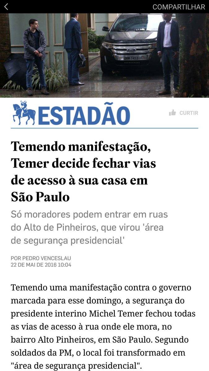 Um governo provisório sem voto, sem apoio popular e sem apoio à democracia, só pode temer o povo mesmo. #foratemer https://t.co/FTR3bNwWyu