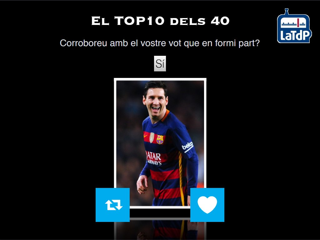 El TOP 10 dels 40 de @mariusserra  Creieu que Messi ha de ser el 10è membre del Top 10? RT - Sí FAV - Sí https://t.co/Hhkxf7o3mo