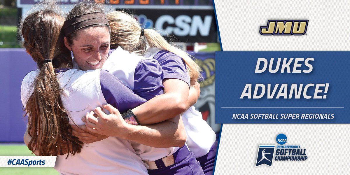 Huge congrats, @JMU_Softball! Dukes are the second CAA team to ever reach the Super Regionals. #CAASports https://t.co/uVScI0WxFN