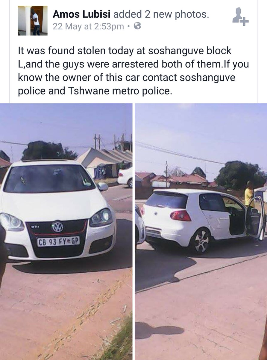 Stolen car recovered in Soshanguve. RT,  maybe the owner is still looking for it. https://t.co/ukZKAiTF6y