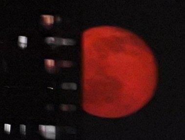十六夜の月がのぼってきました。昼間が暑くなったからか、きのうよりさらに赤みを帯びてみえる月…みんな赤い月にシャッター押してました。 https://t.co/0W3Y38R3Og