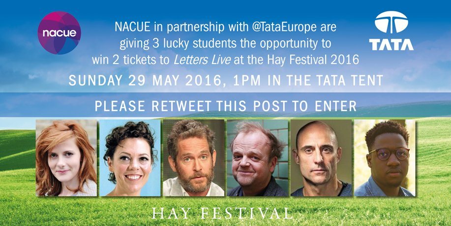 We've partnered with @TataEurope to give 3 students 2 FREE tickets to Letters Live at #HayFestival - RT to win! https://t.co/WTpIdNWlZB