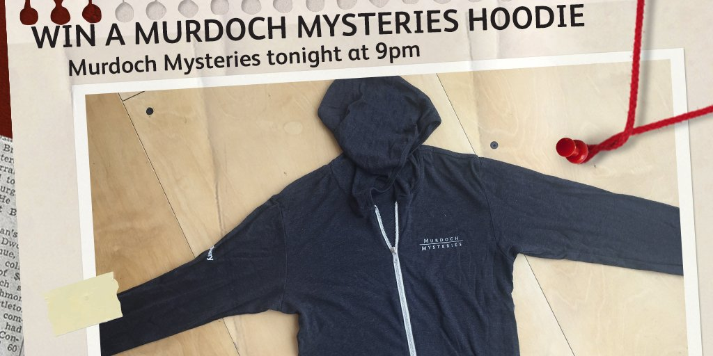 Win 1 of 16 #MurdochMysteries Hoodies! RT & follow us before 10pm 23/05 to enter. T&Cs https://t.co/ubDWDYu5Yl https://t.co/cjvqWE9q1W