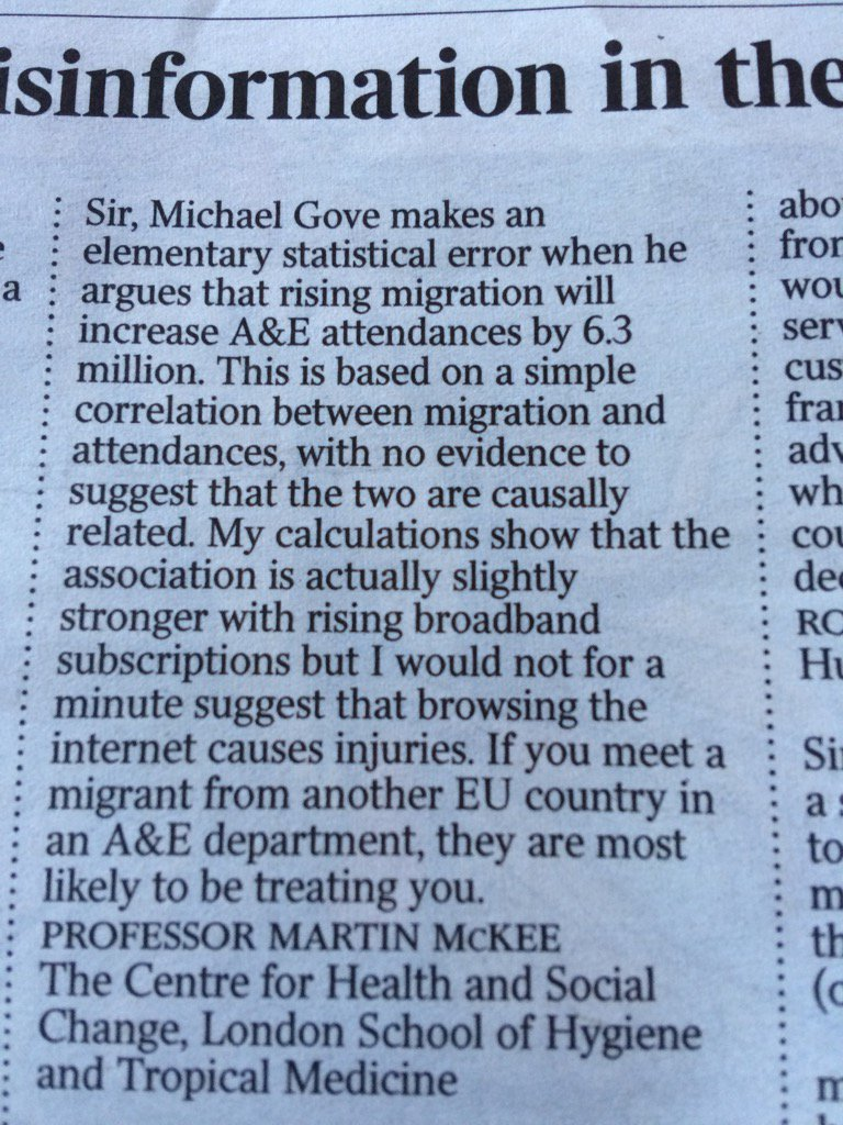 Does ex Education Secretary Michael Gove need a lesson in statistics before arguing for #Brexit ?My letter in Times https://t.co/l95WFjQVAW