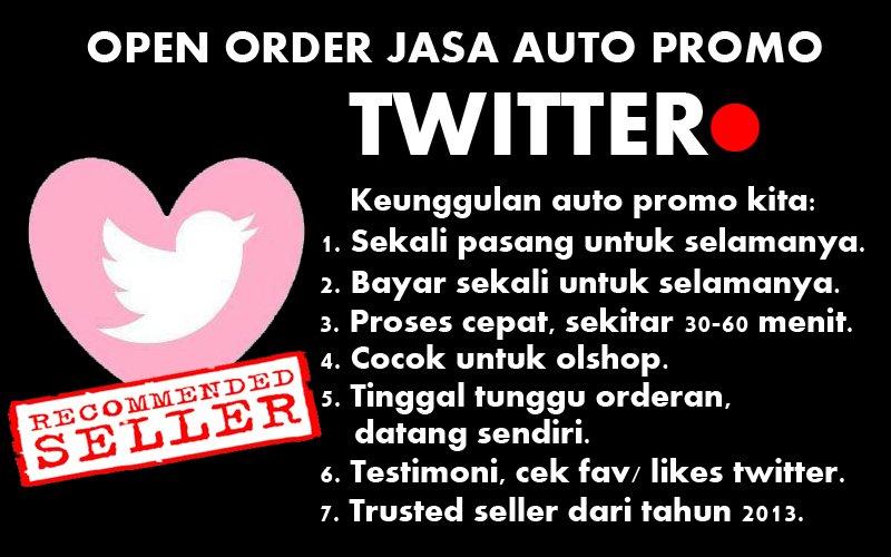 promout_ Open order AUTO PROMO Twitter. Sekali Pasang/ Bayar untuk selamanya! sms/wa: 089680771169 :) *45 pic.twitter.com/A8WpVtQotK