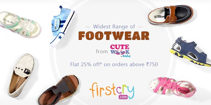 Widest range of #KidsFootwear from #CuteWalk Flat 25% off on order above Rs.750 at #Firstcry https://goo.gl/XDvasx
