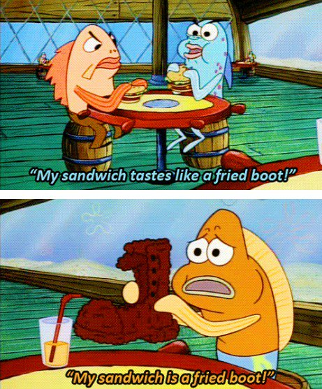 Spongebob On Twitter Hey He Burnt My Krabby Patty He Burnt My