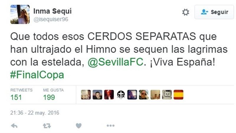 "Vicesecretaria Juventud VOX (@isequiser96) llama ""cerdos separatas"" a quienes pitaron himno https://t.co/ruzX9WqZGM https://t.co/Us4KUNkGCE"