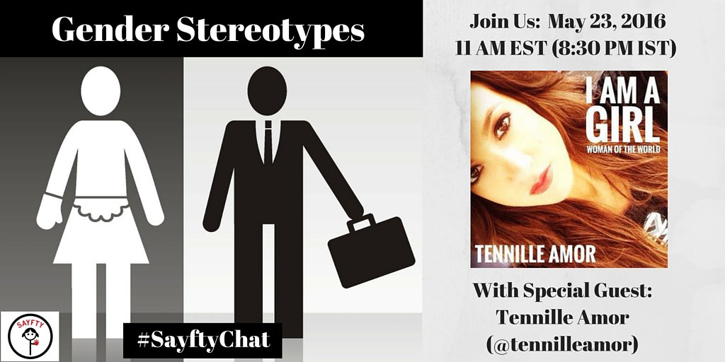 Singer, songwriter @TennilleAmor joins us on #sayftychat at 11am EST today to discuss Gender Stereotypes. Join us! https://t.co/KgR4nYnAU7