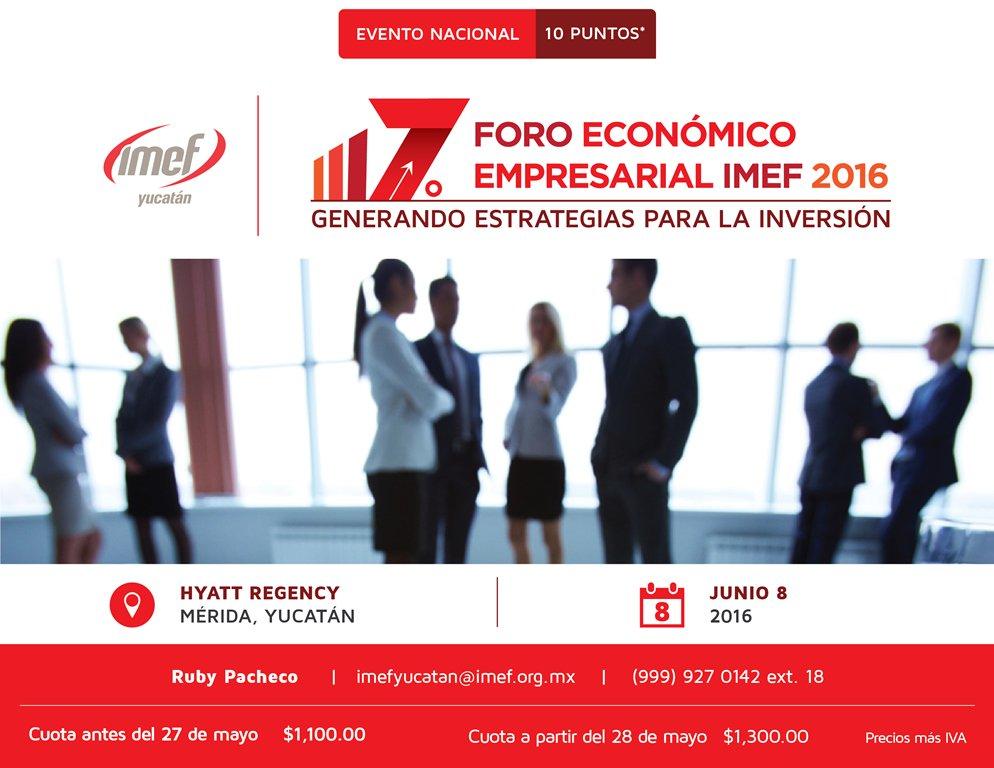 Programa del 7° Foro Económico Empresarial IMEF 2016: https://t.co/wyVfYHj8Fm https://t.co/fxLOmnPufp