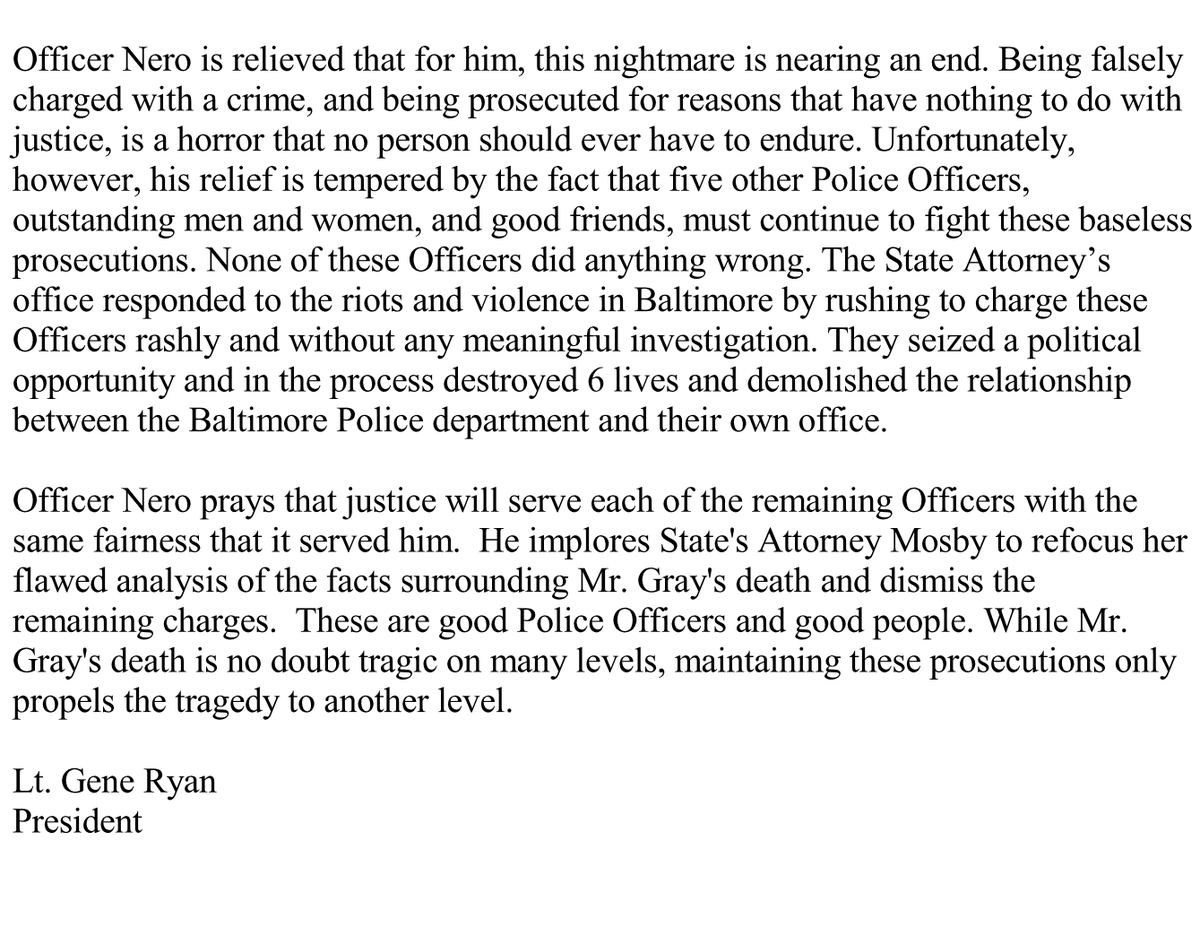 Statement regarding acquittal of BPD Officer Edward Nero https://t.co/JK4RGXavKE