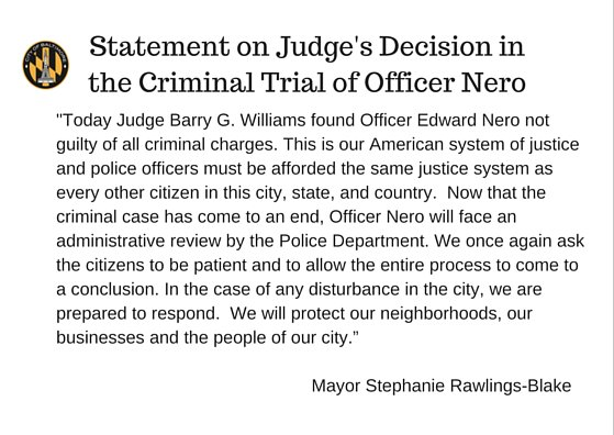 My statement on the judge's decision in the criminal trial of officer Nero https://t.co/2clErkU0YF
