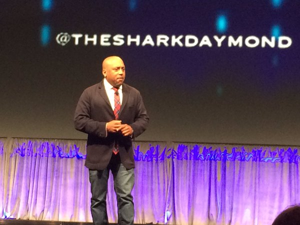 Today: @TheSharkDaymond #onstage for @ALABuzz #bizlaw16 #keynote #sharktank (photo cred. @AlmRachel) https://t.co/4speYLahB2