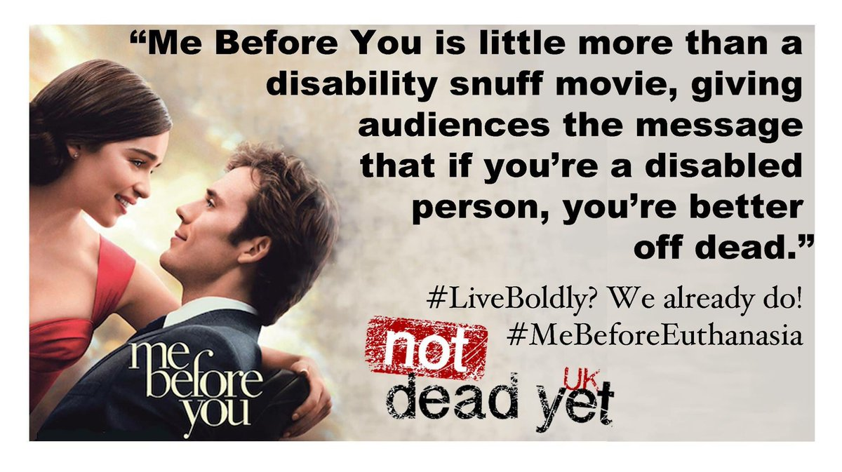 #MeBeforeYou Could you make disabled people feel any more worthless? #MeBeforeEuthanasia https://t.co/7lyhsxoi5D