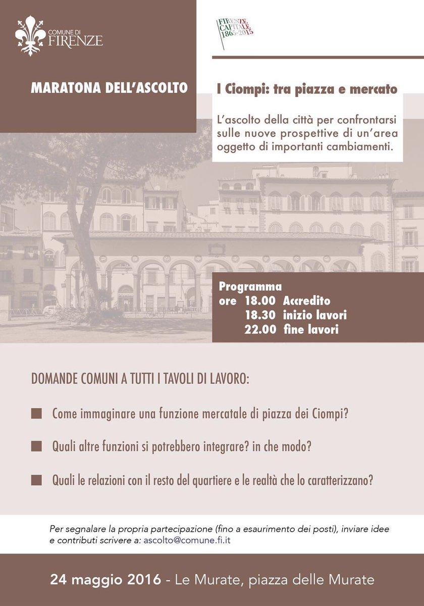 I #Ciompi, tra piazza e mercato. Domani alle 18 #maratonaascolto alle Murate. Vi aspetto! https://t.co/ucM8C8HfzY
