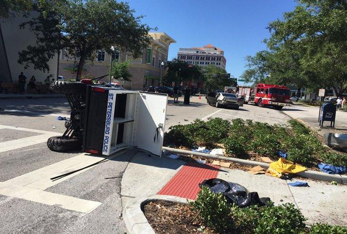 2 arrested in crash involving St. Pete officer