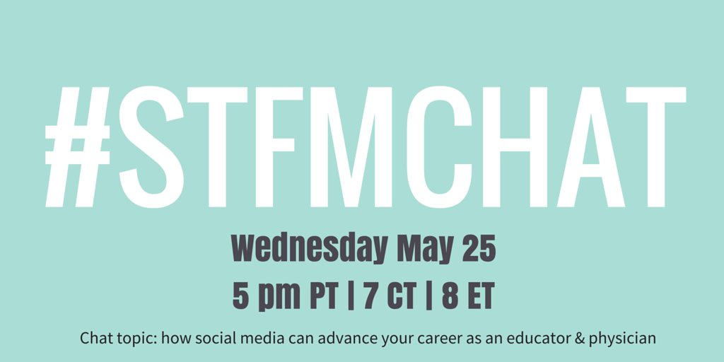 The #STFMchat is on Wednesday! Join us to learn how social media can advance your career as an educator & physician. https://t.co/oBbVO63OU2