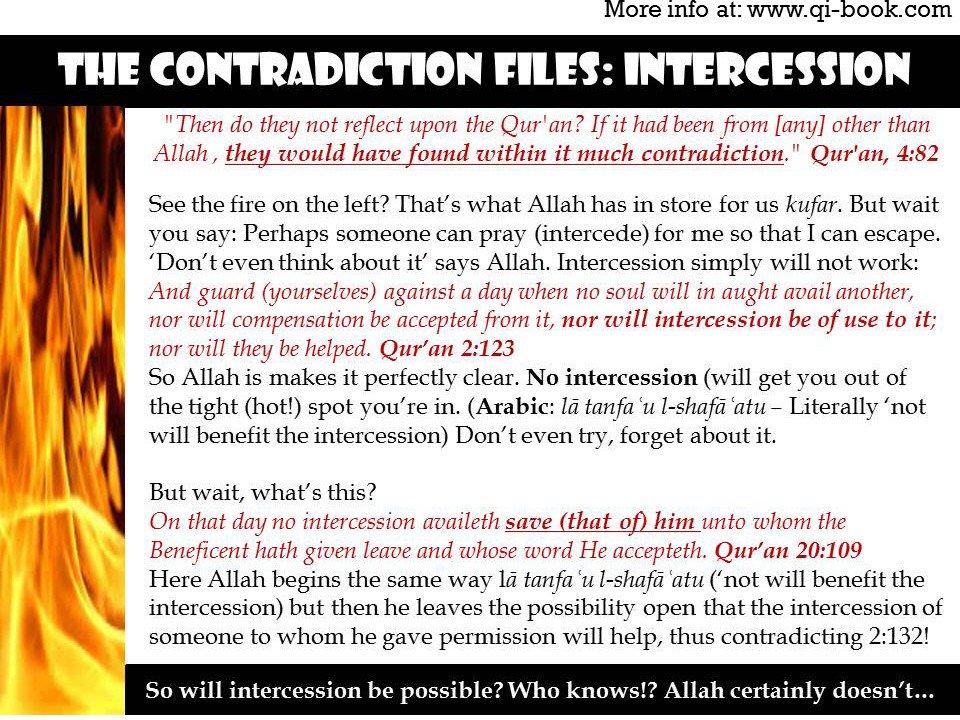 Qur&#39;an Contradiction: Intercession  #paristattack #paris #london #pjnet  http:// ptbooks.info/162-2  &nbsp;  <br>http://pic.twitter.com/9pJnofDer8