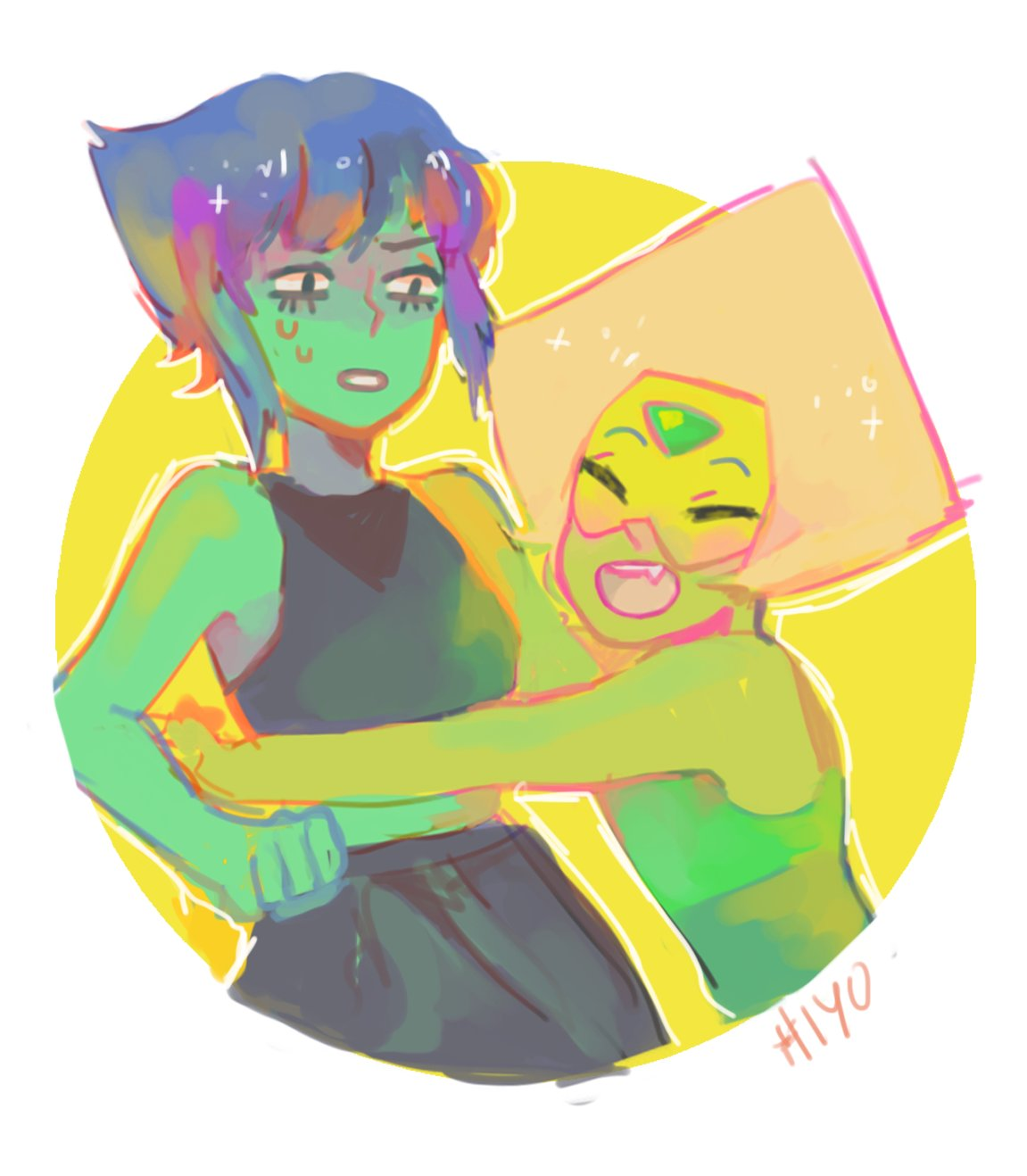 """lapis and her small gf (green friend)"""