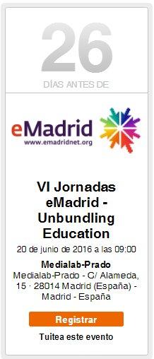 "¡Quedan 29 días para las VI Jornadas #eMadridNet ""Unbundling Education""! Inscríbete ya: https://t.co/YvBabBeQHy https://t.co/6S72uYbzvd"
