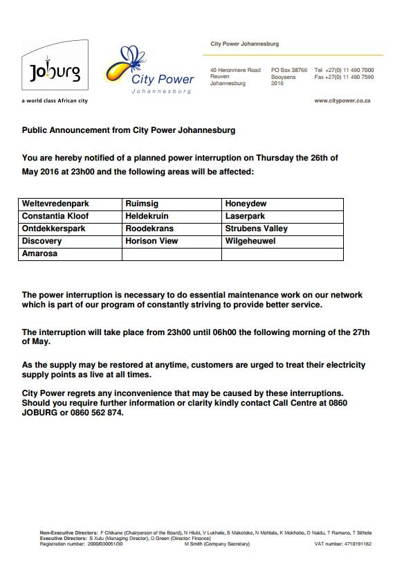 Dear @CityofJoburgZA residents you are hereby notified of a planned power outage on 26 May 2016 at 23:00.^IM https://t.co/hqArG0d9D3
