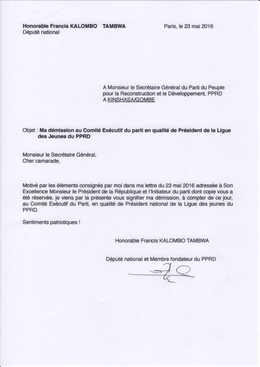 lettre de demission rapprochement conjoint Hon. Francis Kalombo on Twitter: