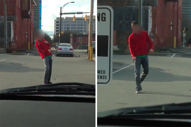 Drunk Guy Caught Peeing In The Street