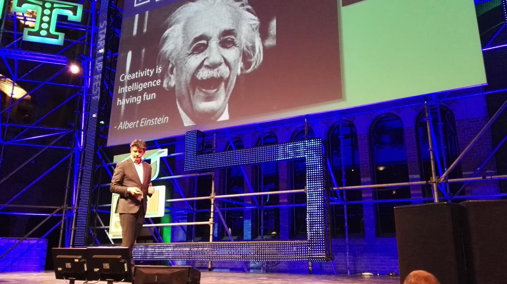 """Creativity is intelligence having fun"", great Einstein quote by Travis Kalanick at #startupfestEU https://t.co/J25beUDSM7"