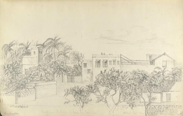 Gujarat history on twitter 195 years old pencil sketch of british political agents house at porbandar drawn by a foreign artist in 1821 ad