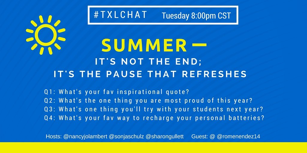 What's your favorite inspirational quote? Join the last #txlchat of the year tonight & be inspired. https://t.co/XDPyJ6xZWi