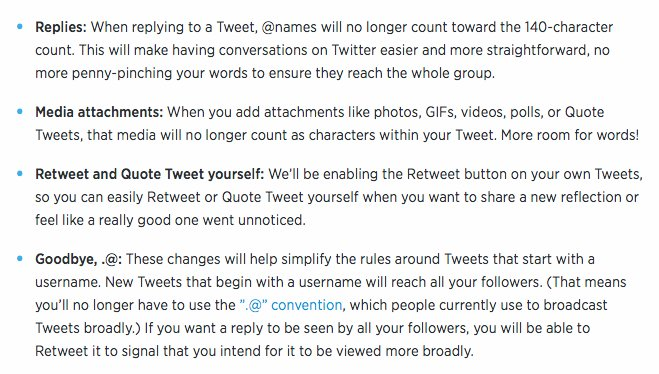 It's official. Changes announced by Twitter include @ reply and media links no longer count in 140 character limit https://t.co/rhUIYp0RTK