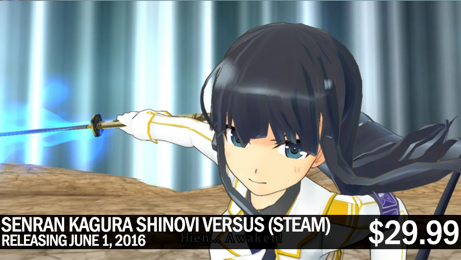 SENRAN KAGURA SHINOVI VERSUS bouncing onto Steam June 1! 60 FPS, HD resolutions, all DLC, 10% first week discount!
