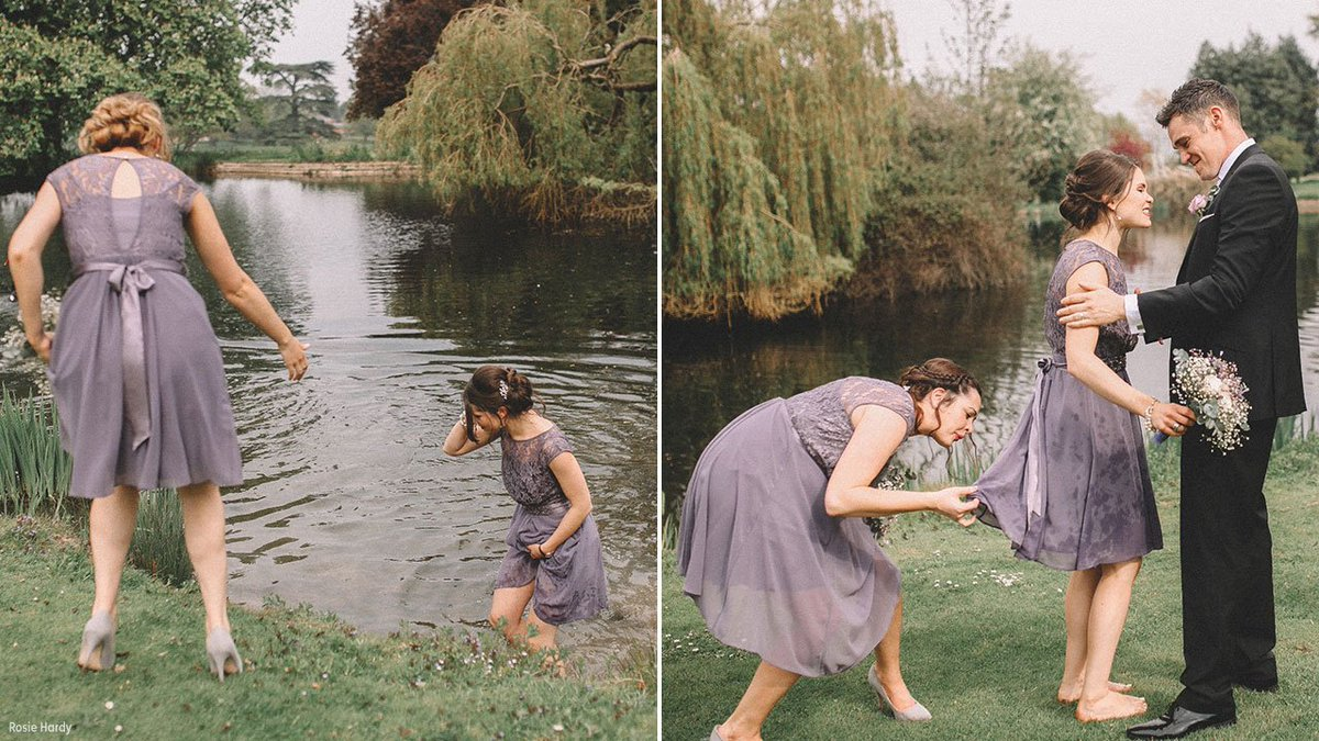 Bridesmaid stops wedding photo shoot to rescue drowning baby goose
