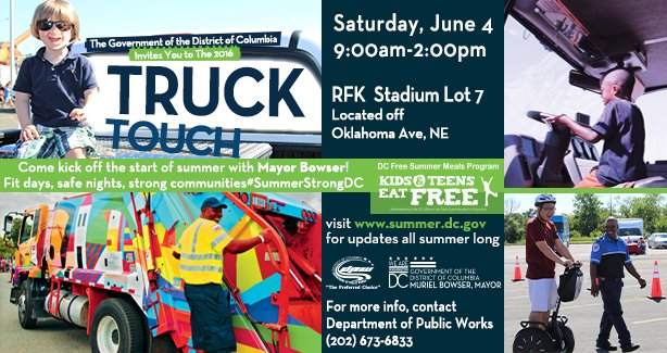 Hey DC!  Get ready for our annual #TruckTouchDC event Saturday, June 4th, 9am-2pm at RFK Stadium Lot7. https://t.co/3fexOamcOG